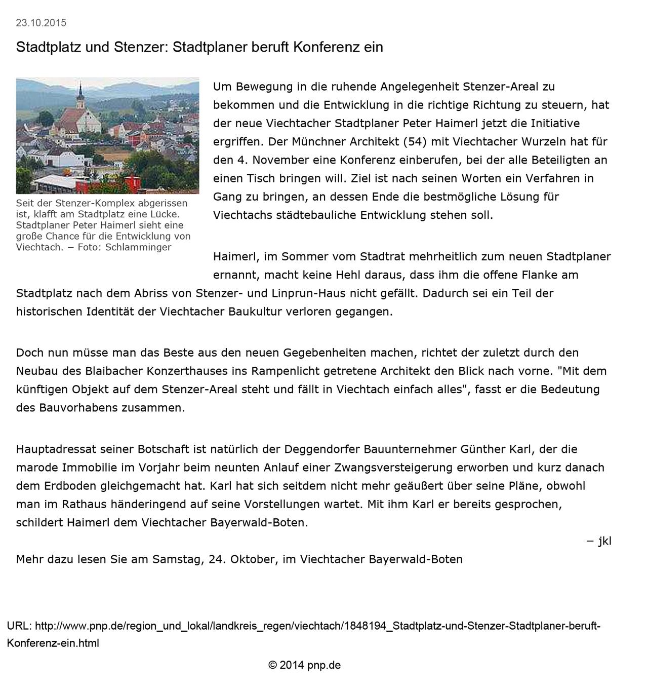 Stadtplatz und stenzer stadtplaner beruft konferenz ein for Stellenanzeige stadtplaner