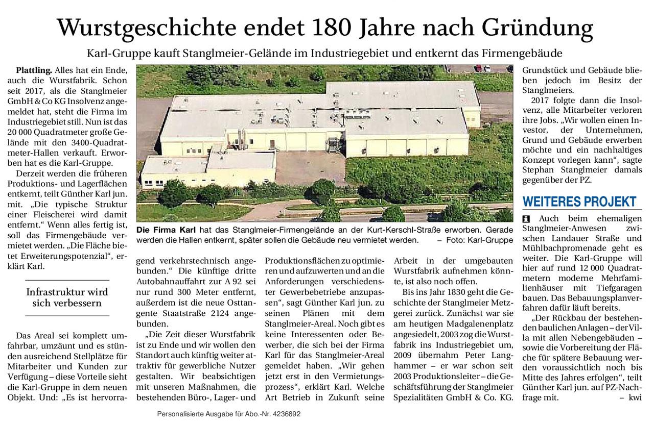 Zeitungsbericht PNP, Industriegebiet Plattling, ehem. Stanglmeier-Wurstfabrik, Entkernung, Attraktiver Standort