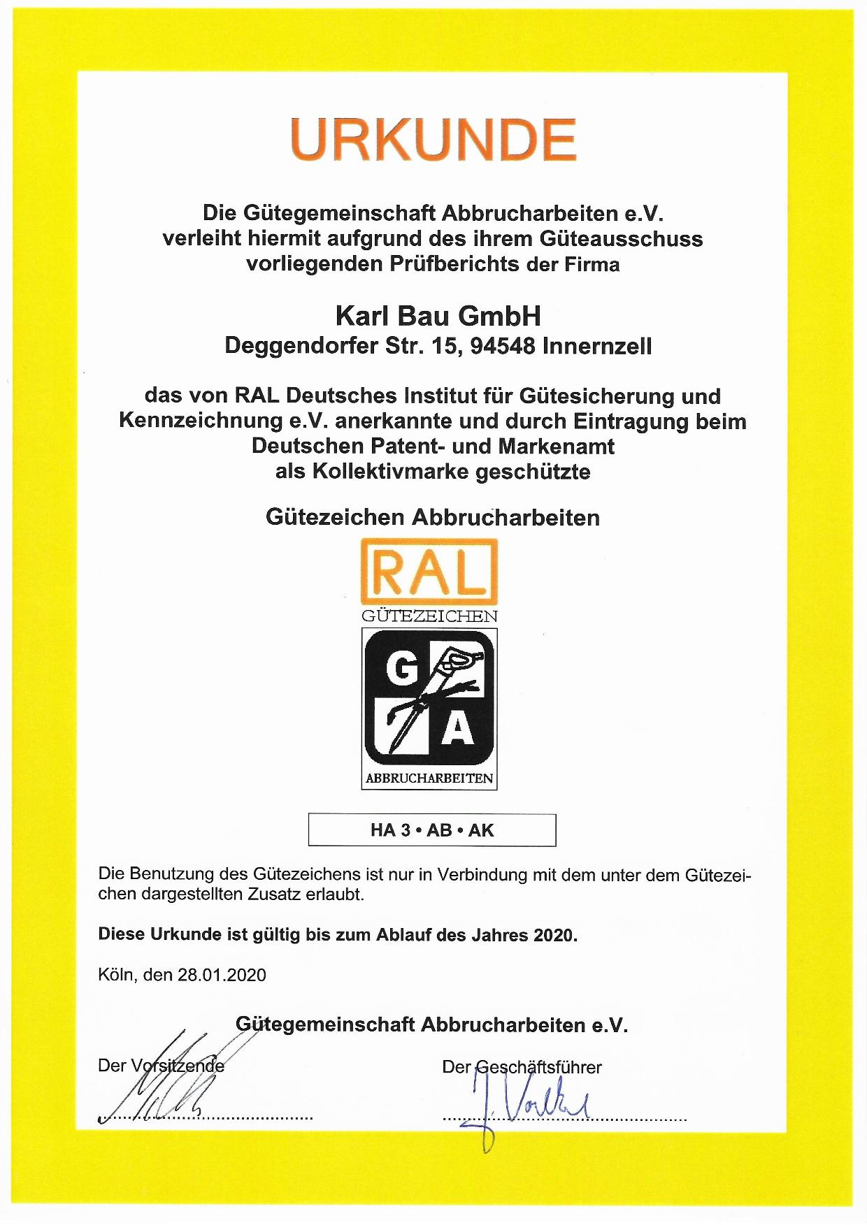 Urkunde RAL Gütezeichen - Abbrucharbeiten, Gültigkeit 2020