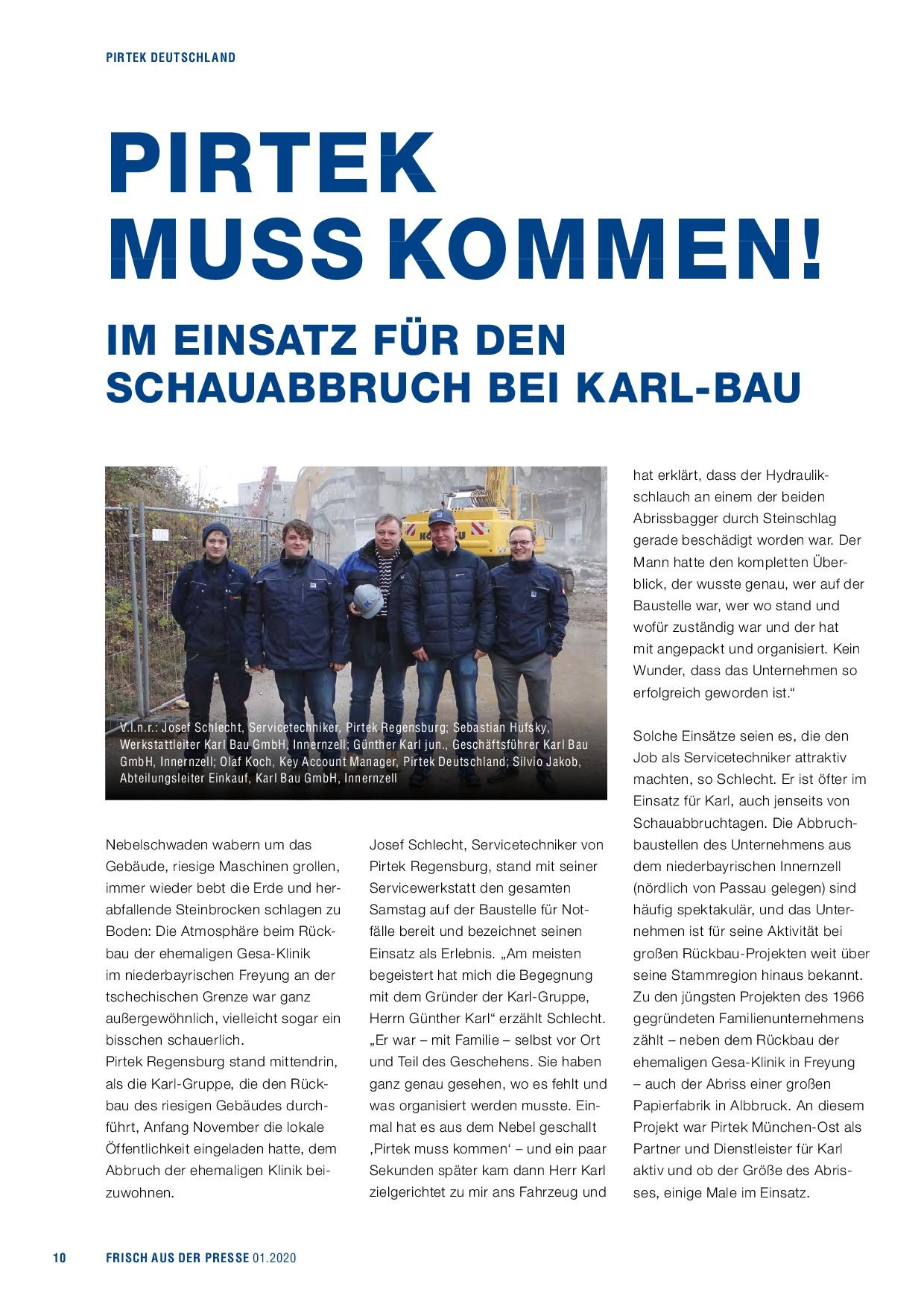 Abbruch Gesa-Klinik, Vertreter von Karl und Pirtek vor Ort, Günter Karl jun.